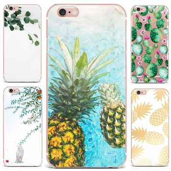 Case For Apple iPhone 7 Plus 7 6S 8 6 8 Plus X 4 5s Mobile Phone Shell Flowers Pineapple Series Hard PC Cute Tropical Plants
