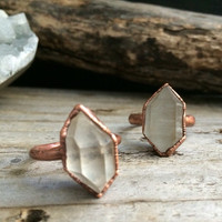 Raw Crystal Ring - Raw Quartz Ring - Crystal Ring - Raw Crystal Jewelry -  Double Terminated Quartz Ring -  Gypsy Jewelry - Boho Ring