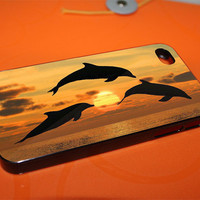 Dolphin Sunset for iPhone 4, iPhone 5, Samsung Galaxy S3, Samsung Galaxy S4, iPod 4 and iPod 5 Cases