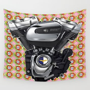 Pink Portuguese Biker collage Wall Tapestry by Tony Silveira