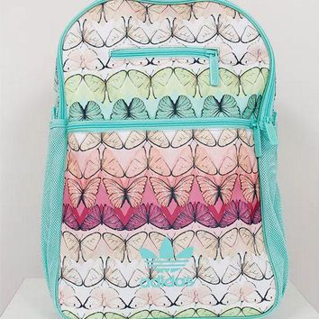 DCCKSP2 Adidas Green Farm Butterfly Print Sport School Shoulder Bag Travel Bag Laptop Backpack