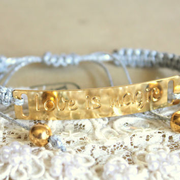 Friendship bracelet gold and silver tone 14k plated gold braided silk- love is magic