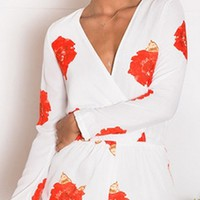 Love Song White Red Floral Long Sleeve Cross Wrap V Neck Ruffle Trim Short Romper