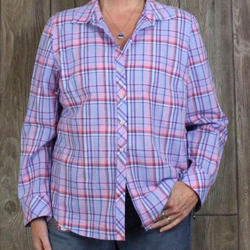 Nice Talbots XL size Blouse Blue Pink Plaid Top Womens Lightweight Cotton