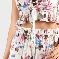 Floral Frill Lace Crop & Flow Shorts IVORY -SheIn(Sheinside)