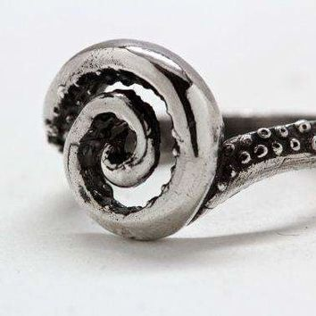Octopus Tentacle Swirl Ring - Sterling Silver