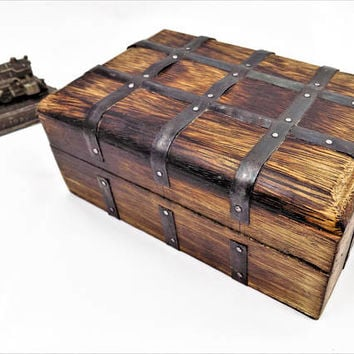 Wood Box, Hinged Lid, Metal Bands, Hand Crafted, Pirate Style, Stash Box