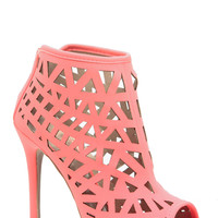 Neon Coral Faux Nubuck Geometric Cut Out Heels