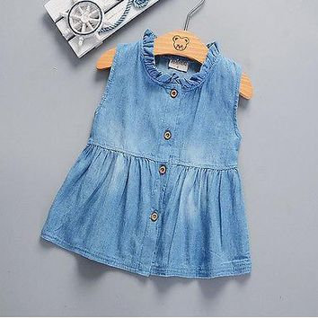 New Baby Girls Summer Sleeveless Princess Dress Denim Tutu Dresses Toddler Kids Girls Baby New Drop Shiping Items 0-24M