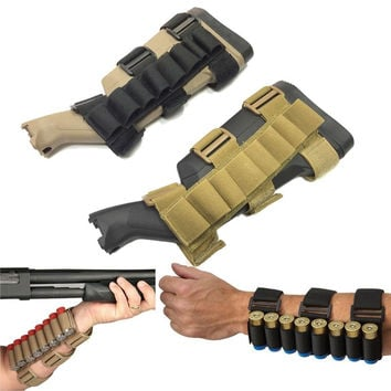 Tactical Shooter's Forearm Shotgun Shell Pouch 12GA Ammo Cartridge Stock Holder