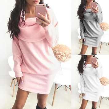 Fashion Women Sweater Dress Long Sleeve Bodycon Knitted Slim Fit Autumn Spring Party Pencil Dresses FS99