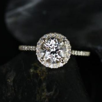 Kubian Original Size 14kt Yellow Gold Thin Round White Topaz Halo Engagement Ring (Other metals and stone options available)