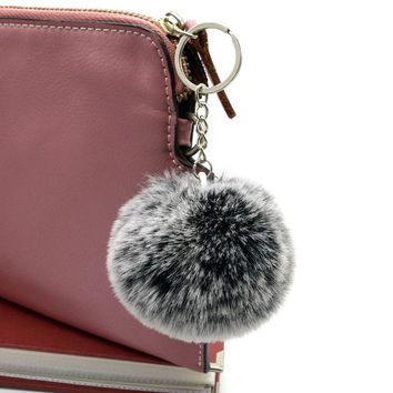 8cm Frost white fur pom pom ball keychain 1 ball 2 colors Women bag key chains pompon porte clef pompom de fourrure