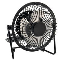 BSBL 4-inch 360-degree Rotating USB Powered Metal Electric Mini Desk Fan for PC /Laptop /Notebook (Black)