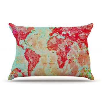 "Alison Coxon ""Oh The Places We'll Go"" World Map Pillow Sham"