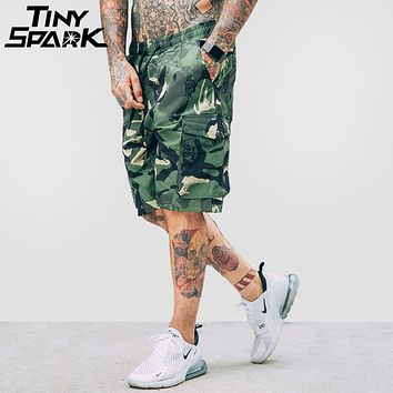 Summer Hip Hop Cargo Short Camouflage Side Pockets Men Casual Street wear Shorts Print Elastic Waist Army Green