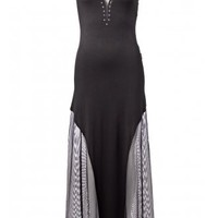 Queen of Darkness Mesh Plunge Maxi Dress