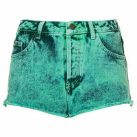 MOTO Mint Acid Wash Denim Hotpants - Mint