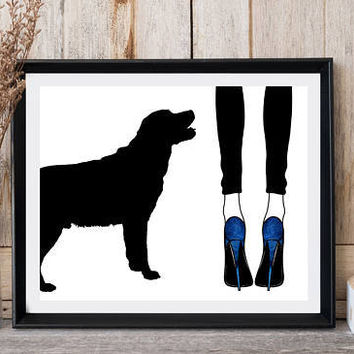 Dog print, Woman with dog, Woman legs, Blue shoes, Labrador art, Fashion wall decor, Printable art, Greeting card, Black legging, High heels