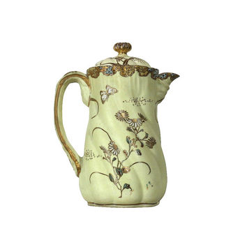 1900s Nippon Moriage Coffee Pot, Vintage Pale Yellow with Flowers & Butterfly Antique Japanese Pottery