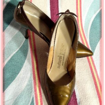 50's GOLD and BRONZE PATENT LEATHER STILETTO HEEL SHOES - Blue Velvet Vintage
