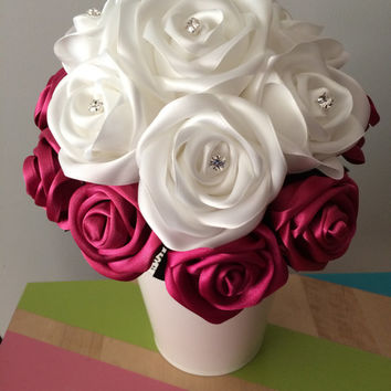 Swarovski Elements White & Maroon Satin Ribbon Roses Wedding Bouquet with Diamante, Handmade