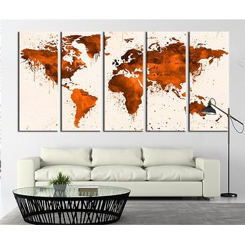 Watercolor Orange World Map Canvas Art Watercolor World Map Art Print