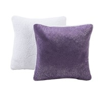 Seventeen Sparkle Faux-Mink & Sherpa Reversible Decorative Pillow (Purple)
