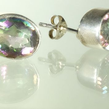 Oval Sterling Silver Faceted Mystic Topaz Stud Earrings