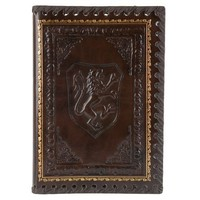Eccolo Lions Refillable Leather Journal with Embossed Lion Crest, Gold Edge Sheets, Lined, 6x8""