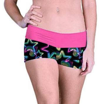 Outta Bounds Yoga Shorts Spandex Exercise Shorts Neon Pink Hearts Stars