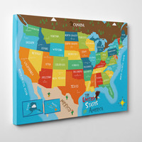 """USA Map Art Canvas For Kids Room Decor- US States and Capitals - stretched over 1 1/4"""" heavy duty frame - Matte finish - Ready to Hang"""