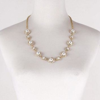 Stylish Rhinestones Faux Pearls Sweater Chain For Women - White And Golden