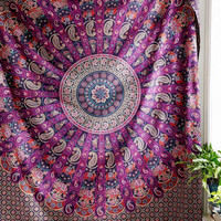 The Allianah Pink Purple Blue Mandala Hippie Boho Bohemian Queen Tapestry