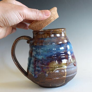 LARGE Coffee Mug with a Cork Lid, 25 oz, unique coffee mug, handthrown mug, stoneware mug, wheel thrown pottery mug, ceramics and pottery