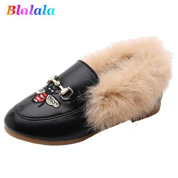 Winter warm Faux Fur Girls embroidery Shoes Child Girls Plush Velvet Loafer Shoes Baby Girls Princess Party Shoes kids Pu Shoes