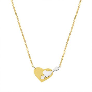 Romantic Love God Bijoux Femme Double Heart Cupid's Arrow Necklaces Pendants Stainless Steel Jewelry For Women Bridesmaid Gift