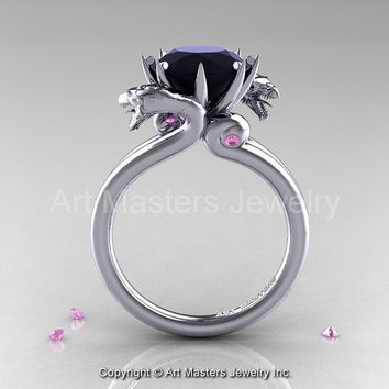 Art Masters Scandinavian 14K White Gold 3.0 Ct Black Diamond Light Pink Sapphire Dragon Engagement Ring R601-14KWGLPSBD
