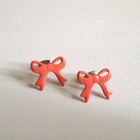 Handpainted Coral Bow Post Earrings  by LosDiasDeRamen on Etsy