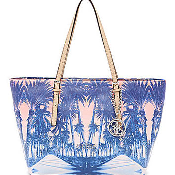 Guess Patent Delaney Palm Tree Print Small Tote - Cobalt/Multi