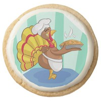 Cooking Turkey Round Shortbread Cookie