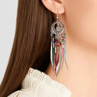 Golden Silver Vintage Ethnic Rainbow Colors Feather Dangle Drop Earrings for Women Female 2018 Wedding Jewelry Accessories