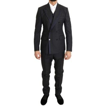 Dolce & Gabbana Gray Wool Blue Silk Double Breasted Suit