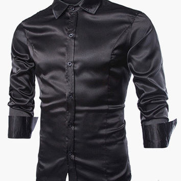 3 colors - Mens Satin Shirt - In the Style of ....