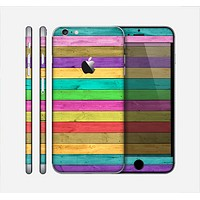 The Thin Neon Colored Wood Planks Skin for the Apple iPhone 6 Plus