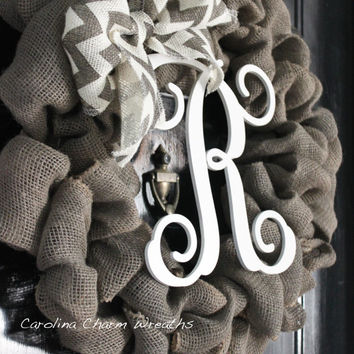 Christmas Burlap Wreath, Door Wreath, Monogram Door Hanger, Front Door Wreath, Thanksgiving Wreath, Burlap Wreath,  Winter Wreath