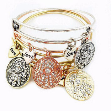 CLEARANCE - Love & Protection Hamsa Adjustable Bangle Bracelet - 4 Colors