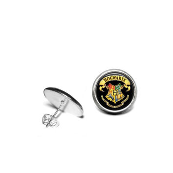 Harry Potter Hogwarts 12mm Stainless Steel Stud Earrings with Hypoallergenic Posts