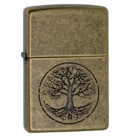 Zippo Tree of Life Pocket Lighter-Antique Brass Finish 29149