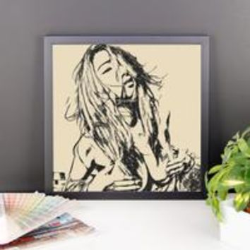 Adult Art Premium Luster Photo Paper Framed Poster - Sexy tease BW